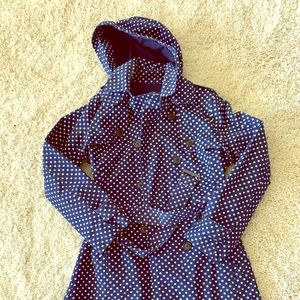 Gap navy polka dot hooded trench coat